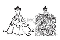 Link toTwo wedding gown line version vector