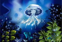 Link toUnder the sea jellyfish vector
