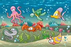 Underwater world cartoon vector illustration