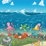 Link toUnderwater world with marine animal design vector 01 free