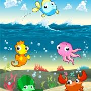 Link toUnderwater world with marine animal design vector 02 free