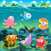 Link toUnderwater world with marine animal design vector 03 free