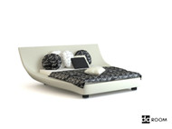 Link toUnique shape white double bed 3d model