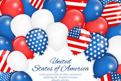 Link toUnited states stars and stripes element balloon background vector