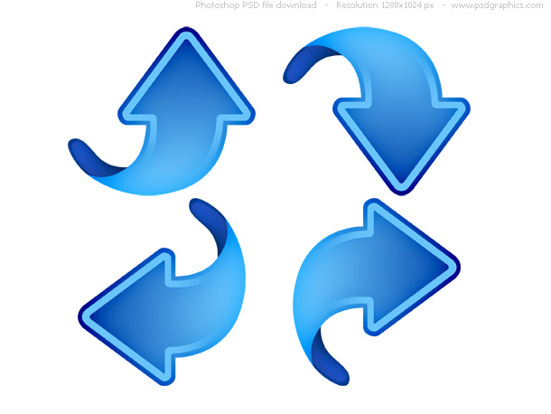 Up, down, left and right arrows, blue web icons psd