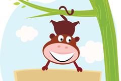 Link toUpside down tree monkey vector
