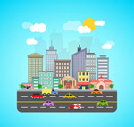 Urban roads and buildings vector