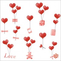 Link toValentine day heartshaped balloons element vector