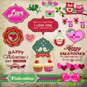 Link toValentine day ornament and labels vector set 04