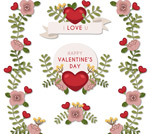 Link toValentine's day flower stickers vector