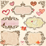 Link toValentine's day hand-painted elements vector