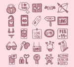 Link toValentine's day hand-painted icons vector