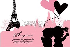 Link toValentine's day romantic paris attractions vector
