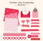 Valentine's day scrapbook elements vector