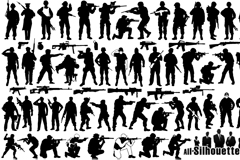 Link toVariety of armed soldiers silhouette vector