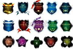 Link toVariety of beautiful crystals badge vector
