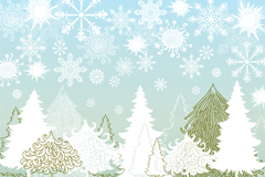 Link toVariety of cartoon pattern of snowflakes and pine tree vector