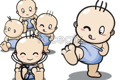 Link tovector baby cartoon cute super attitude different of Variety