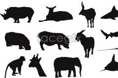 Link tovector silhouette white and black animals sea land of Variety