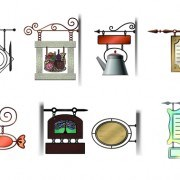 Link toVarious cafe signs vector set 01