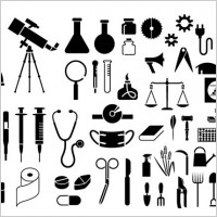 Link toVarious elements of vector silhouette articles 54 elements