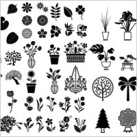 Link toVarious elements of vector silhouette flowers and trees 69 elements