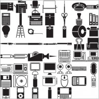 Link toVarious elements of vector silhouette office stationery digital products 69 elements