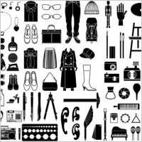 Link toVarious elements of vector silhouette or even goods 99 elements