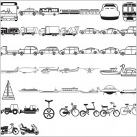 Link toVarious elements of vector silhouette traffic class 57 elements