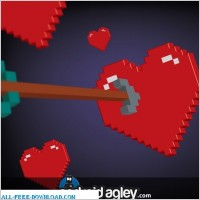 Link toVector 3d pixel heart and arrow