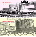 Link toVector black and white buildings