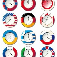 Link toVector clock with different national flags