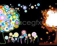 Link tobutterflies elements-patterned circular and trees colorful Vector