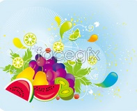 Link topear grape fruit peach monkey currents Vector