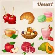 Link toVector dessert with fruit icons free