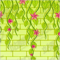 Link toVector flowers on the wall of the material