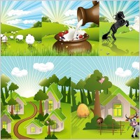 Link toVector lovely countryside farm