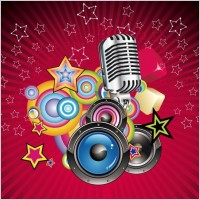 Link toVector music background with speaker and microphone