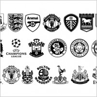 Link toVector set of black and white icon with football club it im not sure