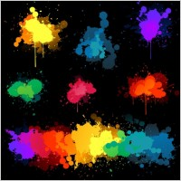 Link toVector set of colored blots on the black background