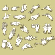Vector set of different gestures graphic 01 free