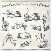 Vector set of different gestures graphic 02 free