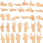 Vector set of different gestures graphic 04 free