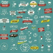 Link toVector set of vintage style label graphics 04