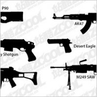 Vector silhouette guns material