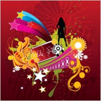 Link toVector woman silhouette on abstract flower background