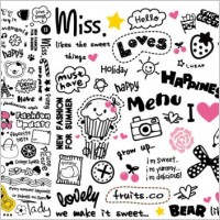 Link toVery cute patterns and word combinations vector