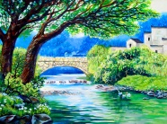 Link toVillage brook oil painting picture material