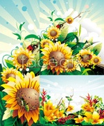 Link toVintage abstract flowers vector