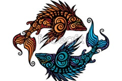 Link toVintage beautiful fish pattern vector